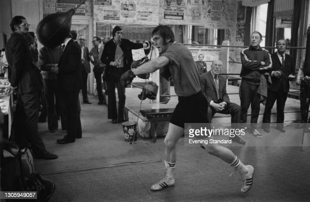 British boxer Chris Finnegan in training ahead of his light heavyweight title fight with John Conteh on the 22nd, UK, May 1973.