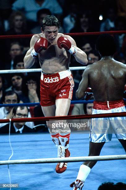British boxer Dave Boy Green in action against Sugar Ray Leonard at the Capital Centre in Landover Maryland 31st March 1980 Leonard won the fight in...