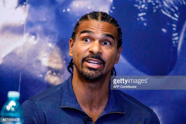 British boxer David Haye attends a press conference in London on October 4 to promote his upcoming heavyweight rematch against British boxer Tony...