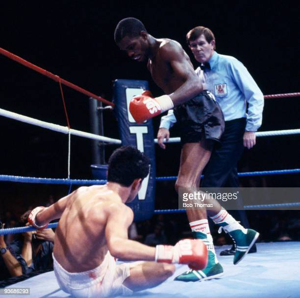 British boxer Duke McKenzie knocks down Rolando Bohol at Wembley Areanto to win the IBF World flyweight championship at the Wembley Arena in London,...