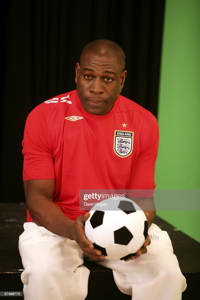 British boxer Frank Bruno is filmed for the video to accompany an England World Cup song 'Who Do You Think You Are Kidding, Jurgen Klinsmann,' at Camden Studios on April 28, 2006 in London, England. British sporting celebrities Sir Geoff Hurst, Frank Bruno and Martin Peters and actor Bill Pertwee join the Tonedef All-Stars at the shoot. The single is due for release on May 29, 2006.