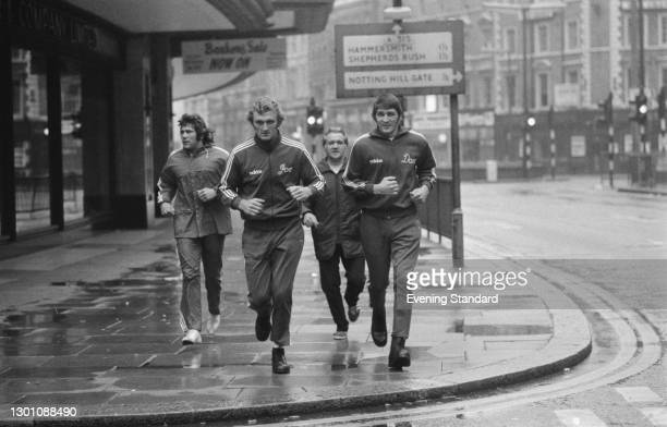 British boxer Joe Bugner training on Kensington High Street in London, ahead of his fight with Joe Frazier at Earl's Court, UK, 30th June 1973.