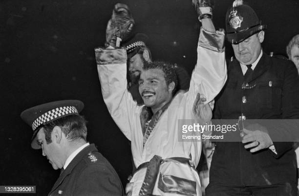 British boxer John Conteh after winning the World Boxing Council Light Heavyweight title at the Empire Pool in Wembley, London, UK, 1st October 1974....