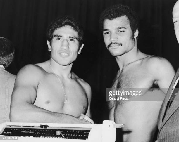 British boxer John Conteh and Argentinian Jorge Ahumada at The Odeon, Leicester Square, for the weigh in for their WBC Light Heavyweight title fight...