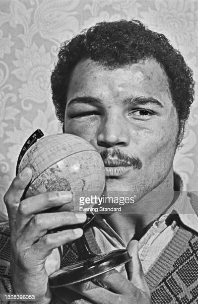 British boxer John Conteh the morning after winning the vacant World Boxing Council World Light Heavyweight title in a fight against Jorge Ahumada of...