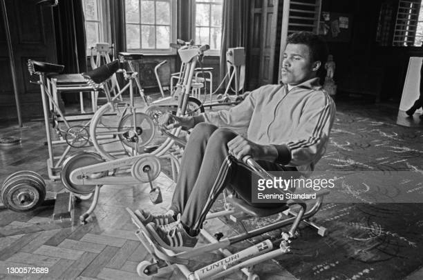 British boxer John Conteh using a Tunturi rowing machine, UK, 8th May 1973. He is in training for his light heavyweight title fight with Chris...