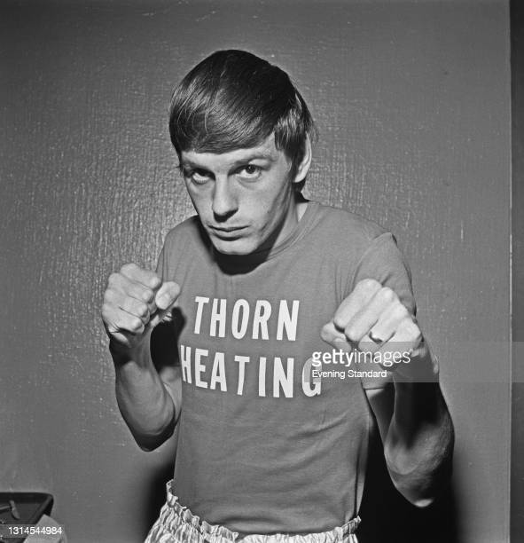 British boxer Patrick Cowdell wearing a Thorn Heating t-shirt, UK, 25th September 1973.