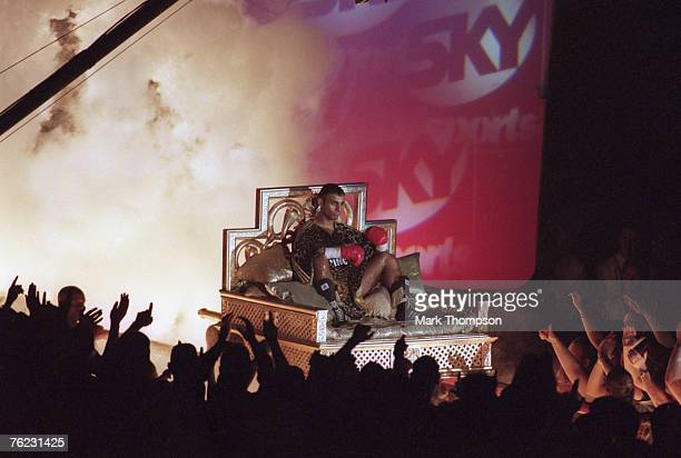 British boxer 'Prince' Naseem Hamed makes a spectacular entrance arriving on a palanquin for his fight against Puerto Rican boxer Daniel Alicea at...