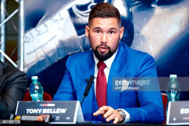 British boxer Tony Bellew attends a press conference in London on October 4 to promote his upcoming heavyweight rematch against British boxer David...