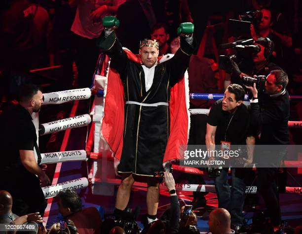 British boxer Tyson Fury arrives for his World Boxing Council Heavyweight Championship Title boxing match against against US boxer Deontay Wilder at...