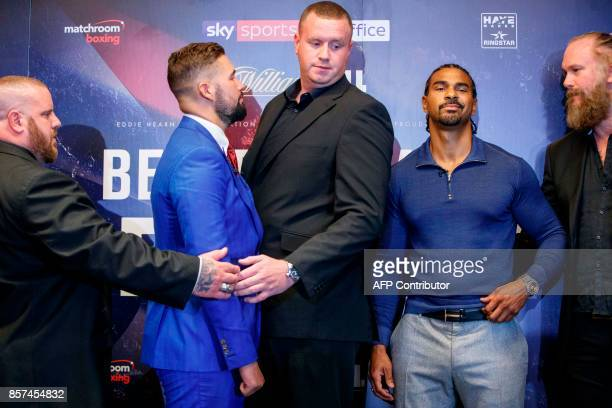 British boxers David Haye and Tony Bellew are separated as they attend a press conference in London on October 4 to promote their upcoming...