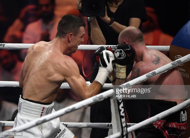 British boxers George Groves and Callum Smith box during the World Boxing Super Series SuperMiddleweight Ali Trophy Final at the King Abdullah Sports...
