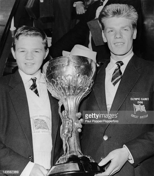 British boxers Richard McTaggart and Terry Spinks in London on their return from the Melbourne Olympics, 13th December 1956. McTaggart won the gold...