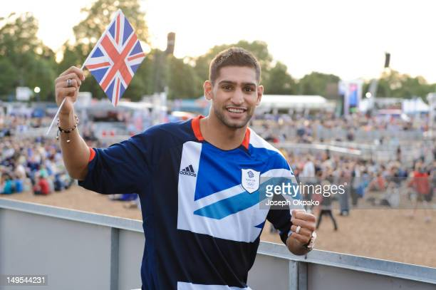 British boxing champion and BOA Ambassador Amir Khan shows his support for Team GB Men's Football team ahead of their match against Uruguay at BT...