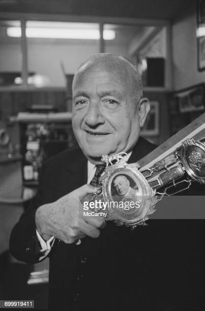 British boxing promoter Jack Solomons holding the Lonsdale Belt UK 21st October 1971 The property of Randy Turpin the belt is being sold for £8000