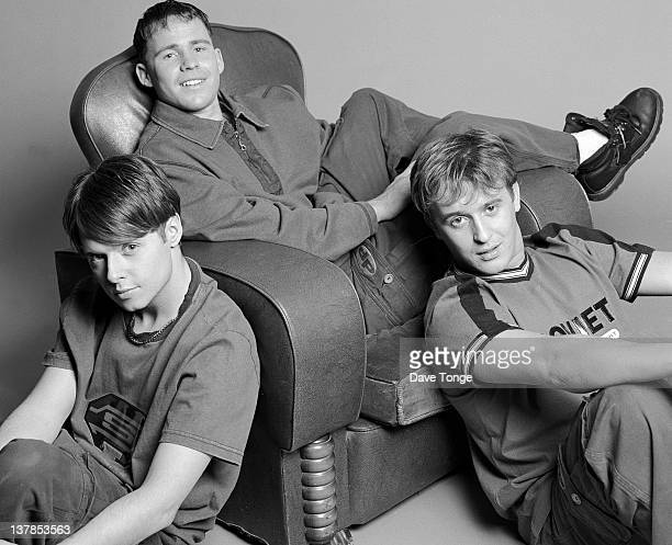 British boy band 911 London December 1996 Left to right Lee Brennan Spike Dawbarn and Jimmy Constable