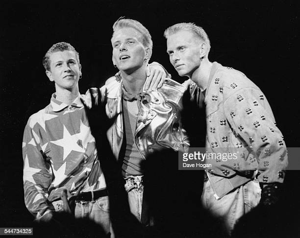 British boy band 'Bros' Craig Logan Matt Goss and Luke Goss on stage in front of screaming fans at Sheffield City Hall England June 27th 1988