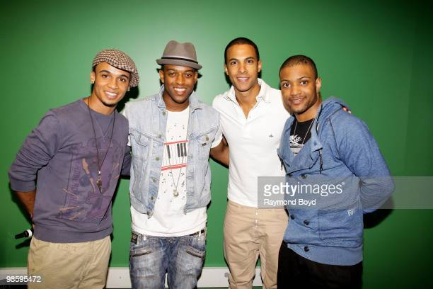 British boy band JLS Aston Merrygold Oritse' Williams Marvin Humes and Jonathan JS Gill poses for photos in the KISSFM CocaCola Lounge in Chicago...