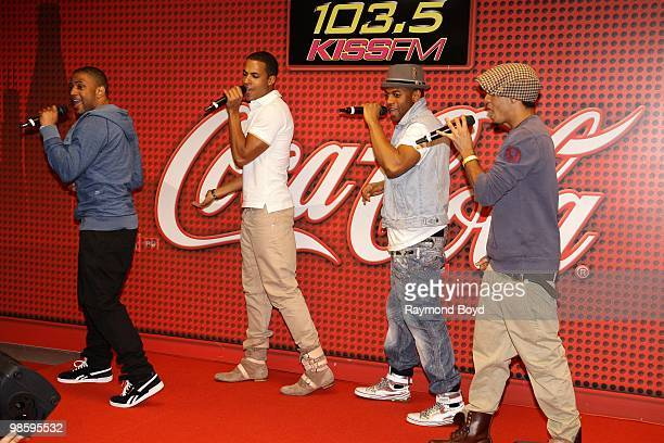 British boy band JLS performs in the KISSFM CocaCola Lounge in Chicago Illinois on APRIL 20 2010