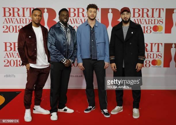 British boy band 'RakSu' Ashley Fongo Jamaal Shurland Mustafa Rahimtulla and Myles Stephenson pose on the red carpet on arrival for the BRIT Awards...