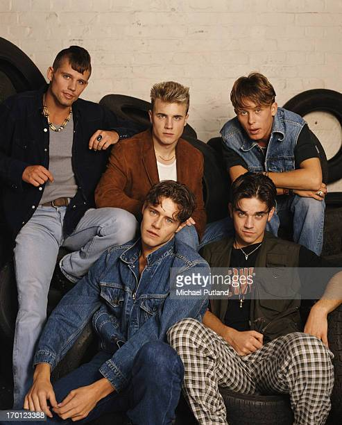 British boy band Take That circa 1991 Clockwise from top left Jason Orange Gary Barlow Mark Owen Howard Donald and Robbie Williams