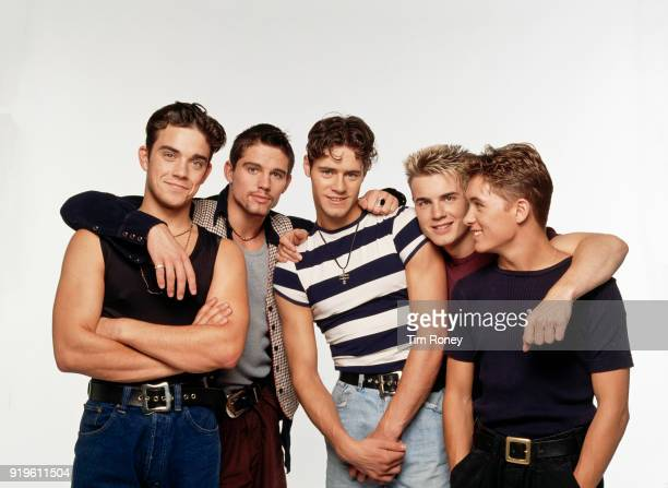 British boy band Take That circa 1992 Left to right Robbie Williams Jason Orange Howard Donald Gary Barlow and Mark Owen