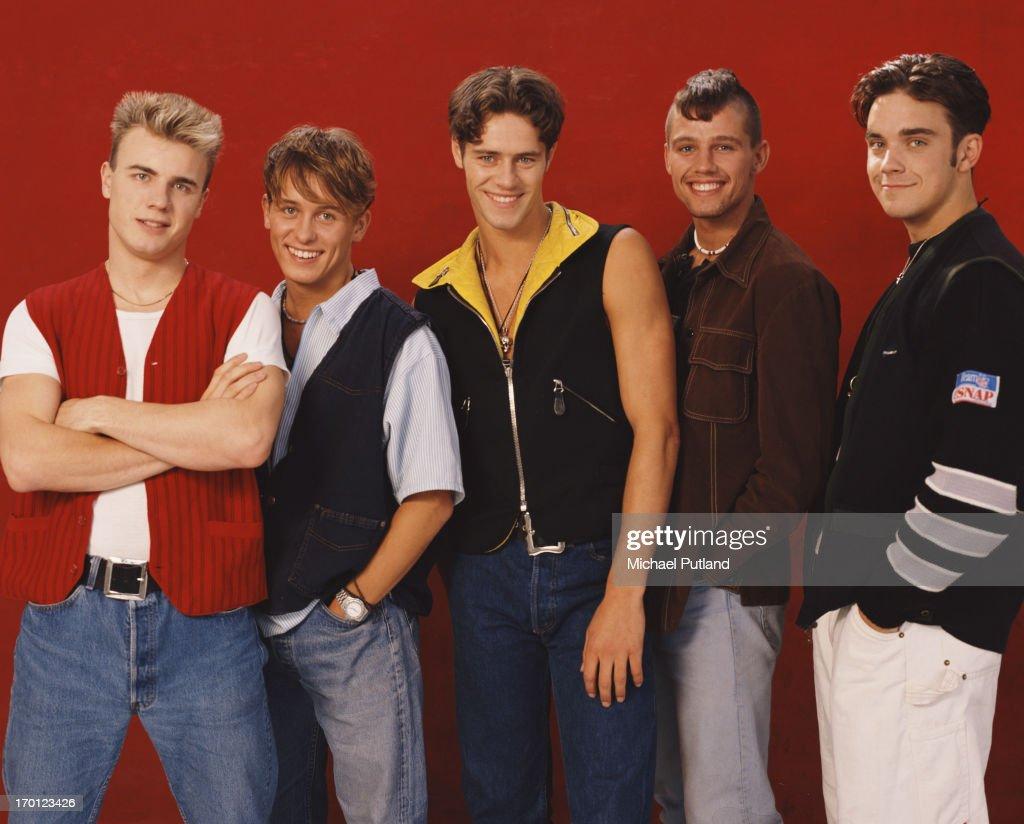 British boy band Take That, London, 1991. Left to right: Gary Barlow, Mark Owen, Howard Donald, Jason Orange and Robbie Williams.
