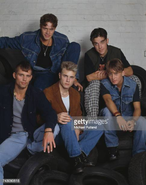 British boy band Take That, posed during a photoshoot in London, 1991. The group are, from left to right, Jason Orange, Howard Donald, Gary Barlow,...