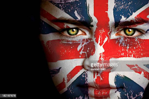 british boy with the flag of united kingdom - english flag stock photos and pictures
