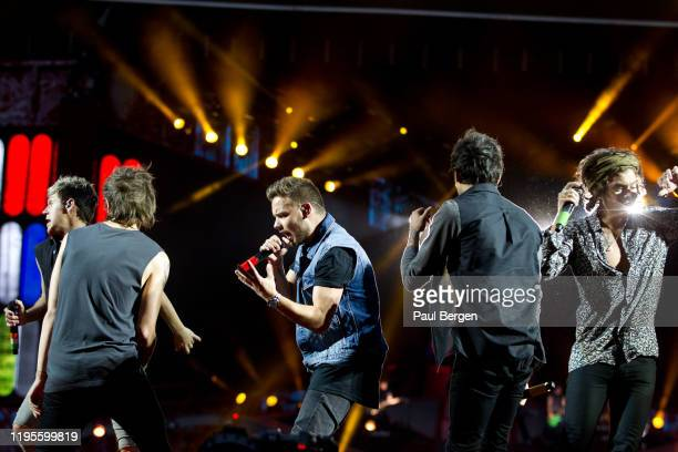 British boyband One Direction with Niall Horan Liam Payne Harry Styles Louis Tomlinson and Zayn Malik performs at Amsterdam Arena Amsterdam...