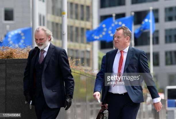 British Brexit negotiator David Fros arrives for negotiations with EU representatives at the EU headquarters in Brussels on June 29, 2020. - The EU...