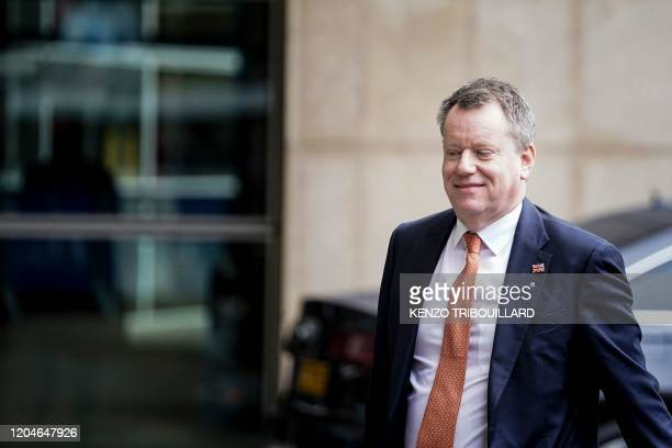 British Brexit negotiator David Frost arrives for a meeting with European Commission's Head of Task Force for Relations with Britain Michel Barnier...