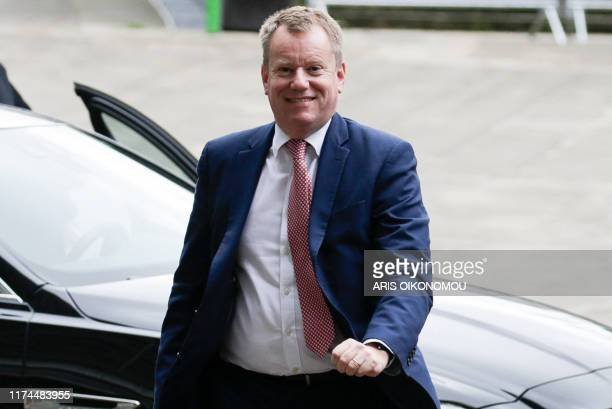 British Brexit negotiator David Frost arrives for a meeting with British ambassador to the EU on October 8 2019 in Brussels Brexit talks between...