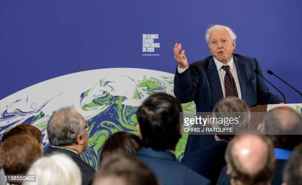 British broadcaster and conservationist David Attenborough speaks during an event to launch the United Nations' Climate Change conference COP26 in...