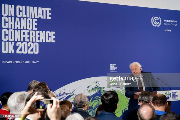 British broadcaster and naturalist Sir David Attenborough attends the launch of the UKhosted COP26 UN Climate Summit which is being held this autumn...