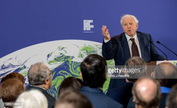 British broadcaster and naturalist Sir David Attenborough speaks during the launch of the UKhosted COP26 UN Climate Summit which is being held this...