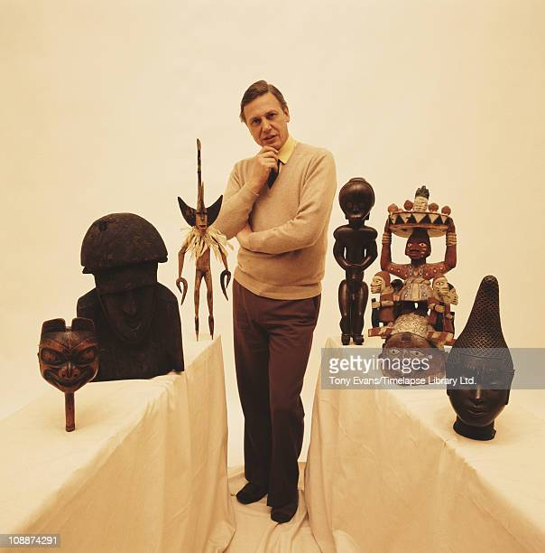 British broadcaster and naturalist Sir David Attenborough standing, 1975.