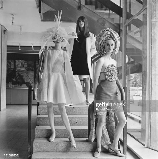 British broadcaster Cathy McGowan presents her autumn collection at the Royal College of Art in London, UK, 28th June 1966.