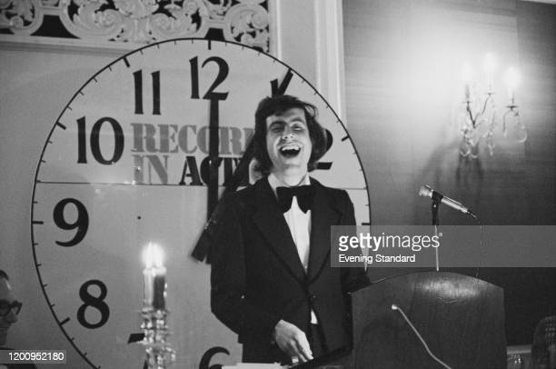 British broadcaster Gyles Brandreth during a new world record attempt for the longest afterdinner speech at the Mayfair Hotel in London England 17th...