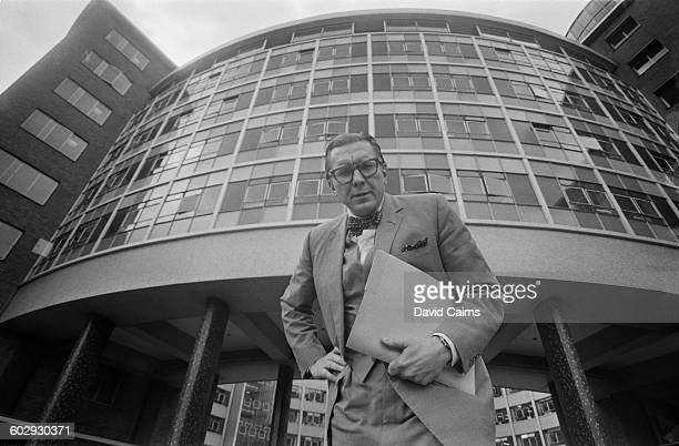 British broadcaster Sir Robin Day outside the BBC Television Centre at White City London 19th April 1970
