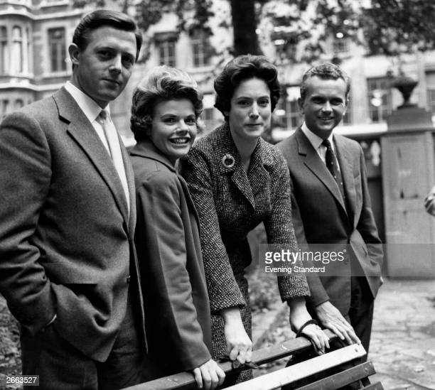 British broadcasting personalities Michael Aspel, Judith Chalmers, Nan Winton and Kenneth Kendall.