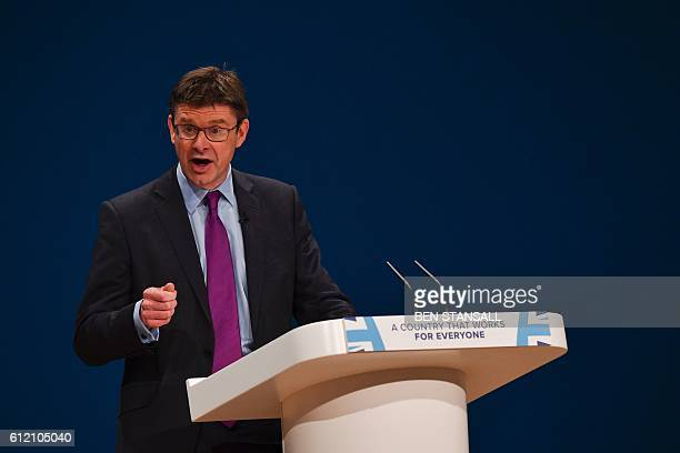 British Business Energy and Industrial Strategy Secretary Greg Clark speaks on the economy on the second day of the annual Conservative Party...