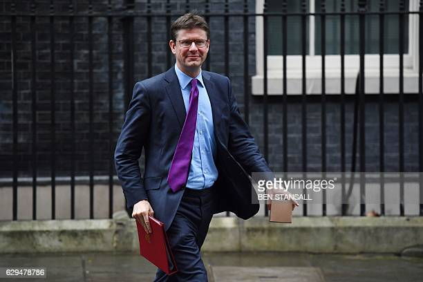 British Business Energy and Industrial Strategy Secretary Greg Clark leaves after the weekly meeting of the cabinet at 10 Downing Street in central...