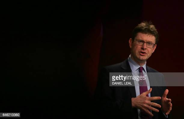 British Business Energy and Industrial Strategy Secretary Greg Clark speaks at the British Chambers of Commerce conference in London on February 28...