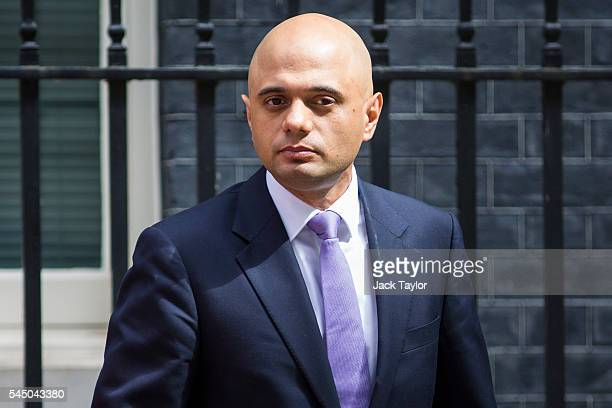 British Business Innovation and Skills Secretary Sajid Javid leaves number 10 Downing Street following a Cabinet meeting on July 5 2016 in London...