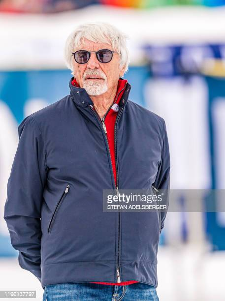 British business magnate Bernie Ecclestone is seen during the KitzCharityTrophy 2020 sideline event at the FIS Alpine Ski World Cup in Kitzbuehel...