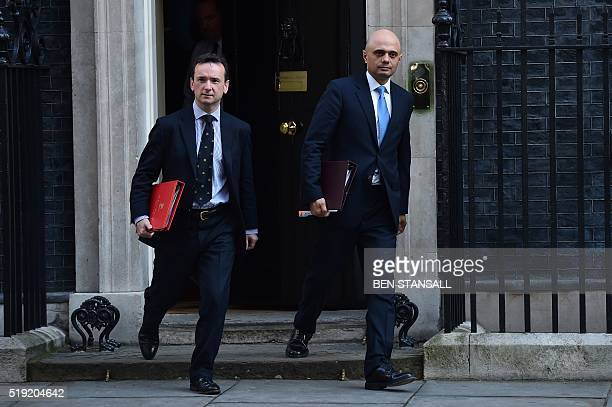 British Business Secretary Sajid Javid and British Wales Secretary Alun Cairns leave 10 Downing Street in London after a meeting with the prime...