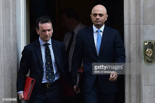 British Business Secretary Sajid Javid and British Wales Secretary Alun Cairns leave 10 Downing Street in London on April 5 2016 after a meeting with...