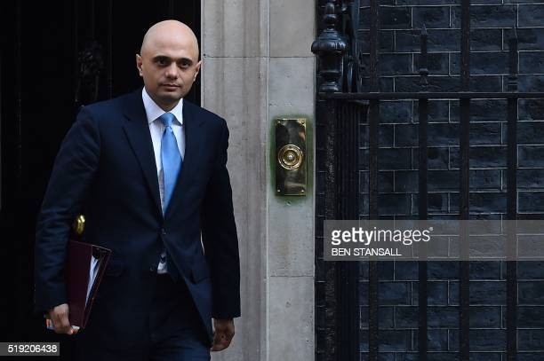 British Business Secretary Sajid Javid leaves 10 Downing Street in London on April 5 2016 after a meeting with the prime minister and the first...