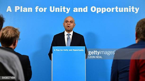 British Business Secretary Sajid Javid speaks during a news conference in central London on June 29 where British Work and Pensions Secretary Stephen...